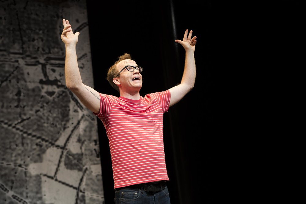 Chris Gethard: Career Suicide, Written and Performed by Chris Gethard, Directed by Kimberly Senior, 45 Bleecker Street, NYC. Photo by Clay Anderson.