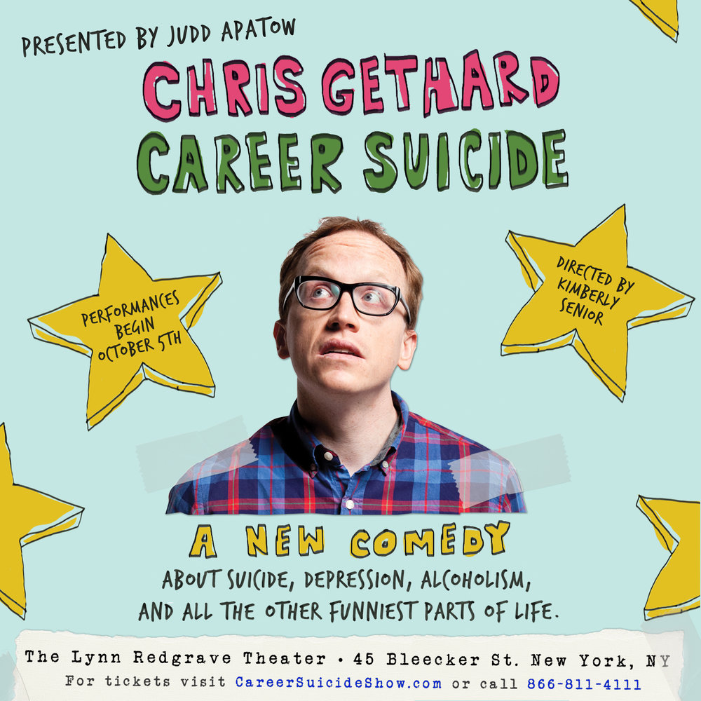 Chris Gethard: Career Suicide, Written and Performed by Chris Gethard, Directed by Kimberly Senior, 45 Bleecker Street, NYC. Photo by Zac X. Wolf. Design by Matt James.
