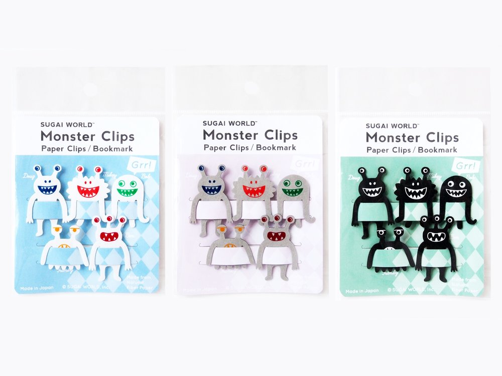SUGAI WORLD : Monstre Clips ( White, Gray, Black)