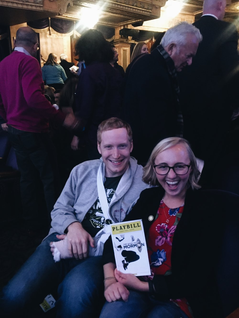 I entered the lottery for Book of Mormon tickets... and was the first name drawn. I took my friend Chris, who I was staying with, and we laughed till we cried.