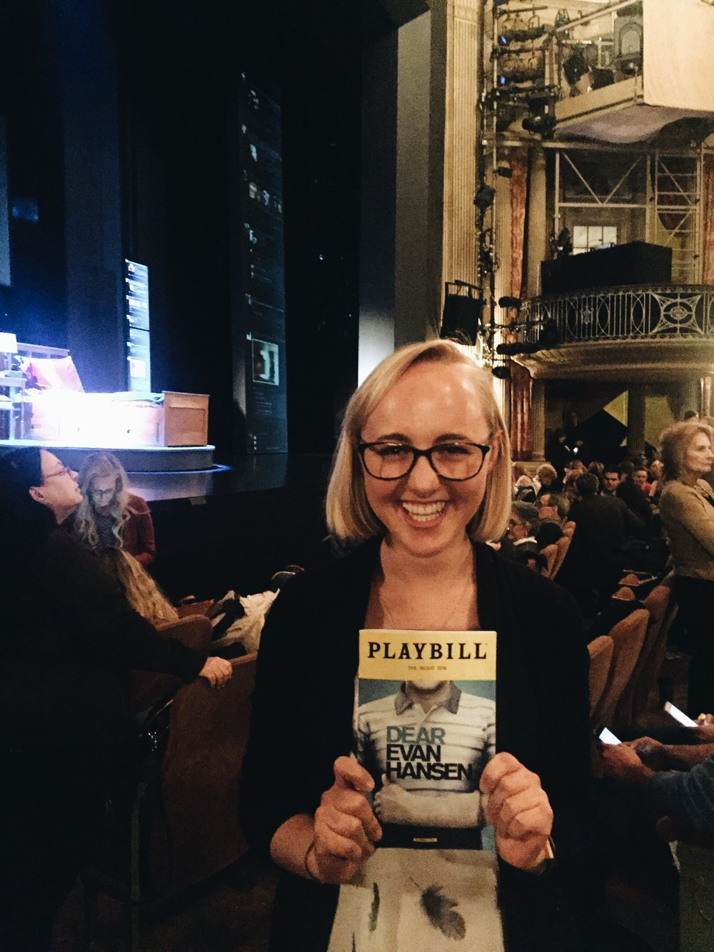 I desperately wanted to see Dear Evan Hansen, but tickets were sold out.I stood in the cancellation line 2 hours before the show and was able to get a single seat, orchestra left, 6 rows back. It was the most incredible performance I've ever seen and I bawled by eyes out. If you haven't listened to it yet, go listen to the entire soundtrack on Spotify. You'll thank me later.