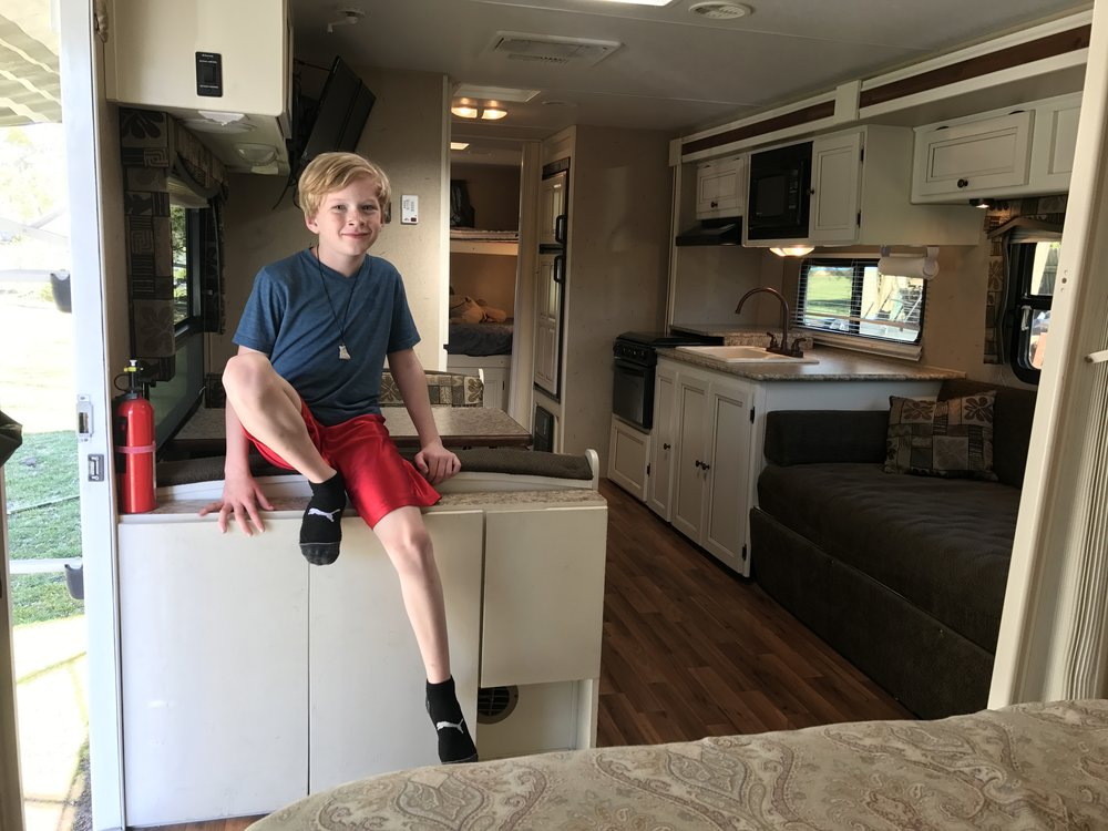 Inside our travel trailer.