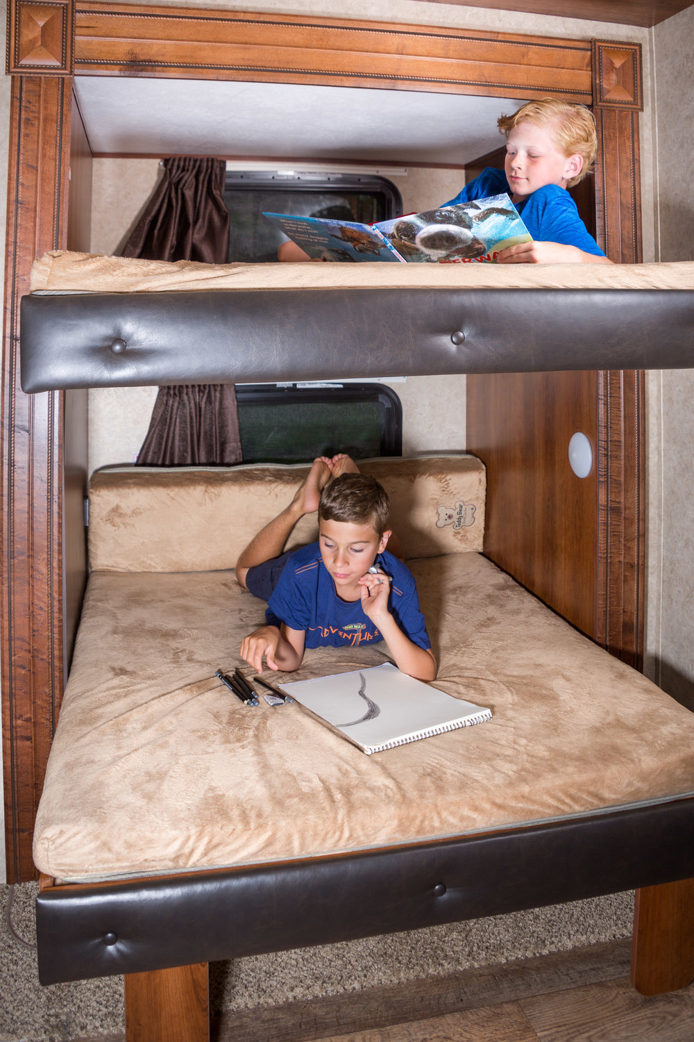 The bunk room in the fifth wheel.