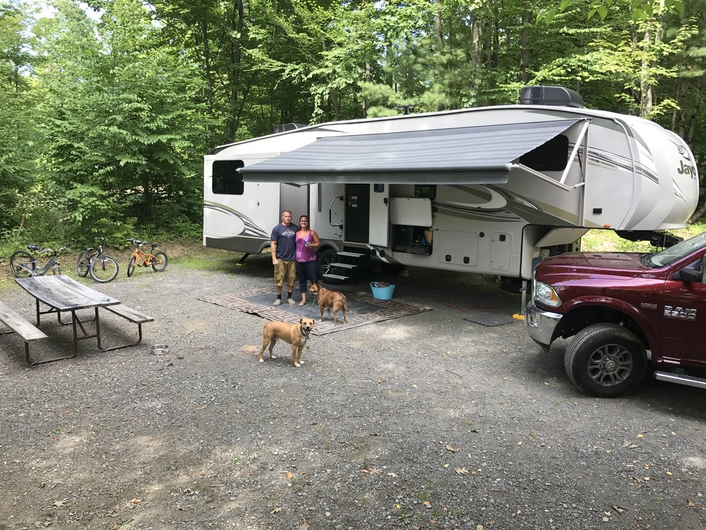 Our fifth wheel on our campsite at Moose Hillock in NY.