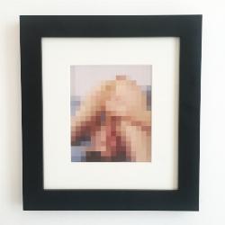 Example of custom framing for each Sex Pixel Print (black modern frame and cream mat)