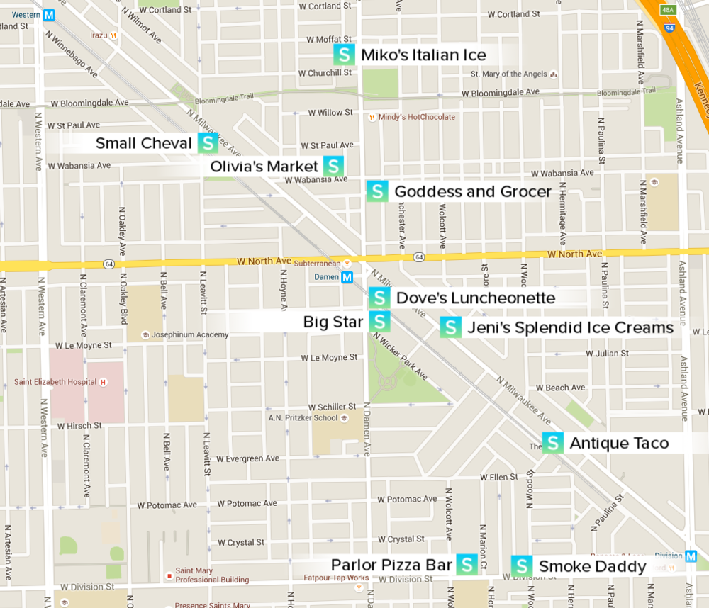 City Guide Wicker Park Chicago Map