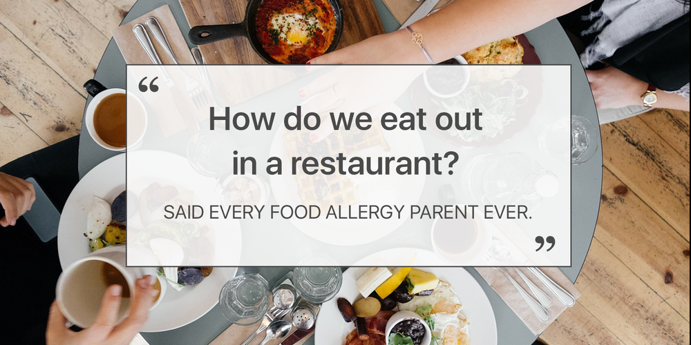 family eating in a restaurant with food allergies