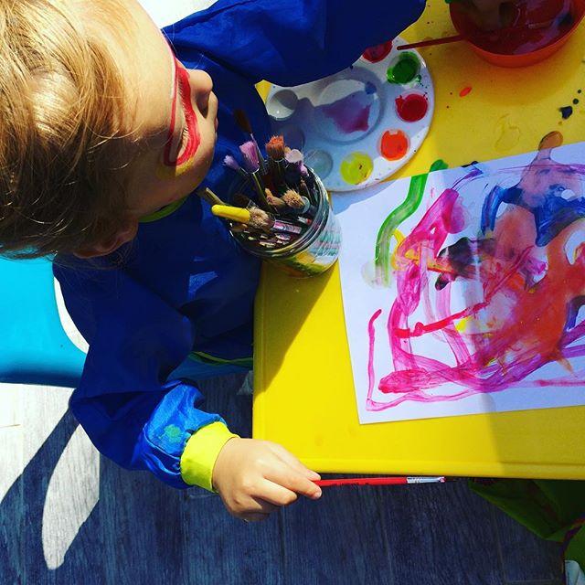 Little human #2 gets in on the #artaction #kidsart #autumn