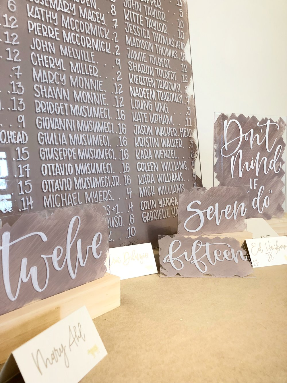 Acrylic Signage- From welcome signs to seating charts to dessert signs - you name it!