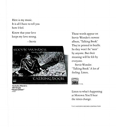 Trade press advert for Talking Book