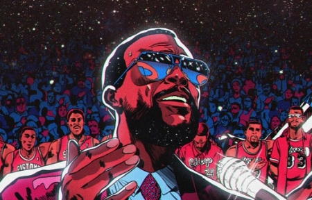 Marvin at the All-Star Game (illustration: Paul Lacolley)