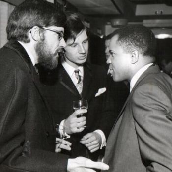 Deep in London conversation (l-r): Dave Godin, Norman Jopling, Berry Gordy