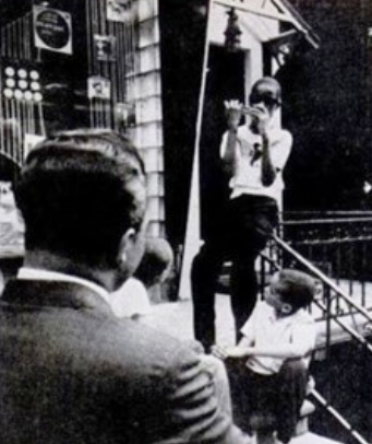 Little Stevie plays for Dennis and Harold Bowles outside Hitsville U.S.A., 1963