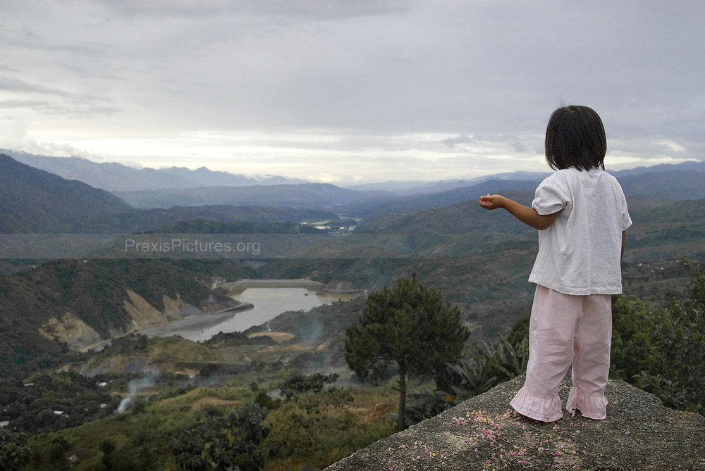 TRIXIE  -  Trixie looks down at the tailings dam for the Lepanto gold mine in the province of Benguet, where the toxic waste from the mining process are dumped at a rate ranging between 1,500 and 2,500 metric tons per day. This is the third dam built here after the previous two collapsed.  According to a fact-finding mission led by British MP Clare Short, as of 2003, there had been 16 serious tailings dam failures in the Philippines in the past twenty years. Additionally, over eight hundred mine sites have been abandoned and have never been cleaned up. Cleanup costs are estimated in the billions of dollars and the damages caused are irreversible.  This particular dam has been completely inadequate against the torrential downpour during the yearly rainy season and is especially vulnerable to earthquakes as Benguet is directly above a fault line. For years the chemicals have been leaking out into the nearby river systems.