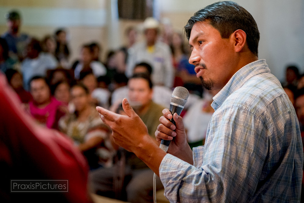 "Aniceto: "" This tribunal was developed to support the resistance. We are here in San Miguel Ixtahuacan, in this important event that is the International Peoples Health Tribunal. Years ago, our people, that you can see around you, began to realize what was happening. we are living through a period that we never expected. we never could have imagined that this would happen to us. so this tribunal is focused on examining the social damages that our community has been facing. """