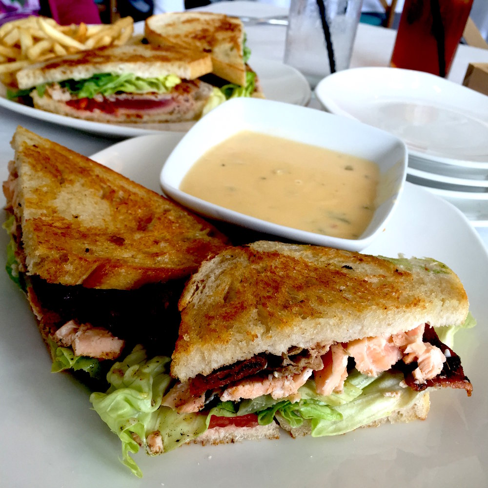 Lunch sandwiches at Magnolia Wine Kitchen. Front: Salmon BLT and cheese soup. Back: Cajun Tuna Sandwich. The tuna was the winner here.