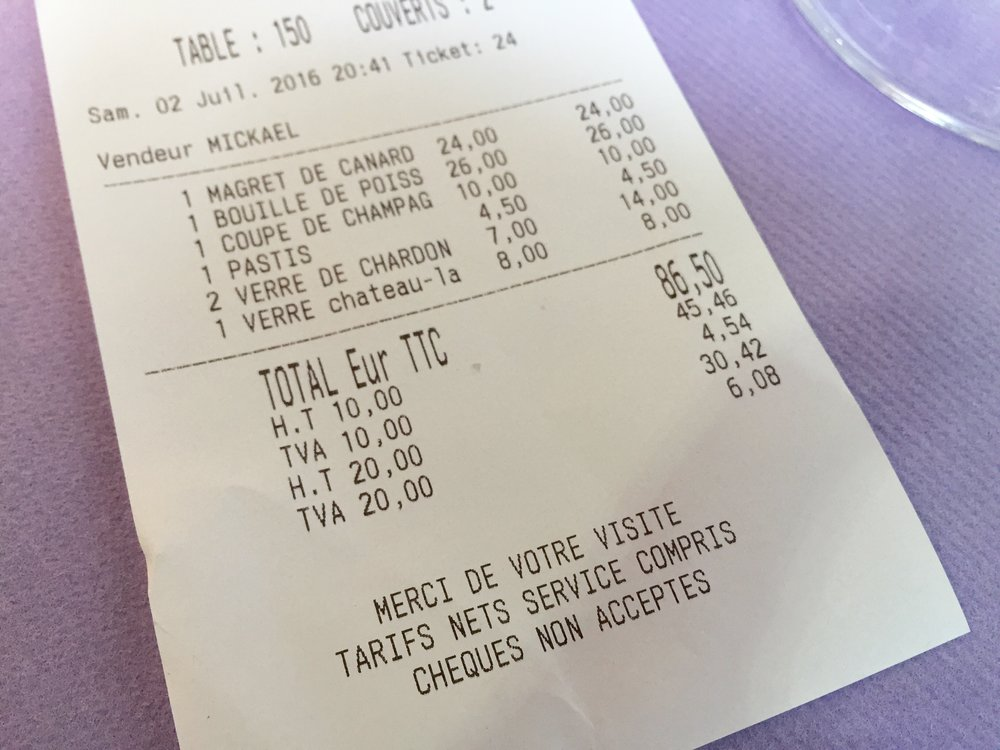 When you see something that costs 26 Euros on a menu, that's exactly what you pay. Tax and service is included in that price. How nice.