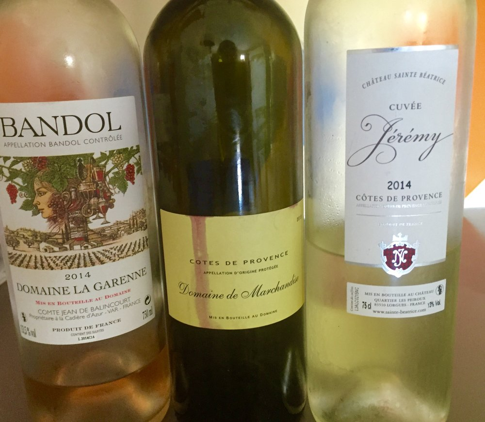 Three great wines I enjoyed in Provence, a stone's throw from the vineyards.