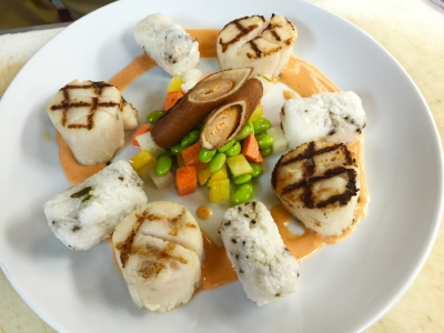 The Sriracha Scallops at Splash Seafood Bar & Grill, Des Moines