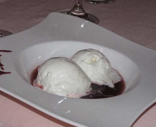 Sheep milk sorbet with berry sauce