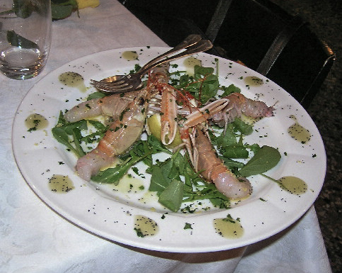 Platter of Raw Scampi