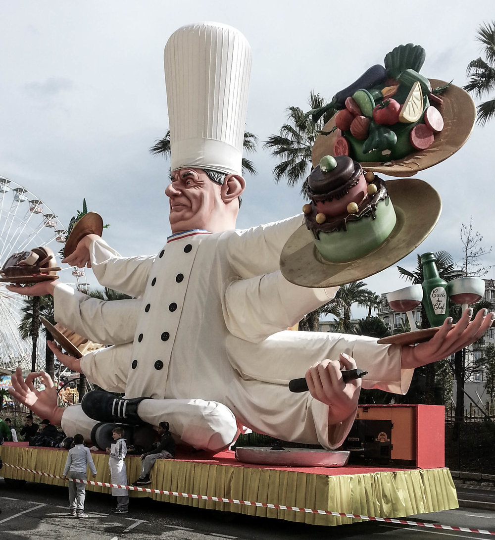 Taken at the 2014  Carnaval de Nice  where the theme of the parade of floats was gastronomy.