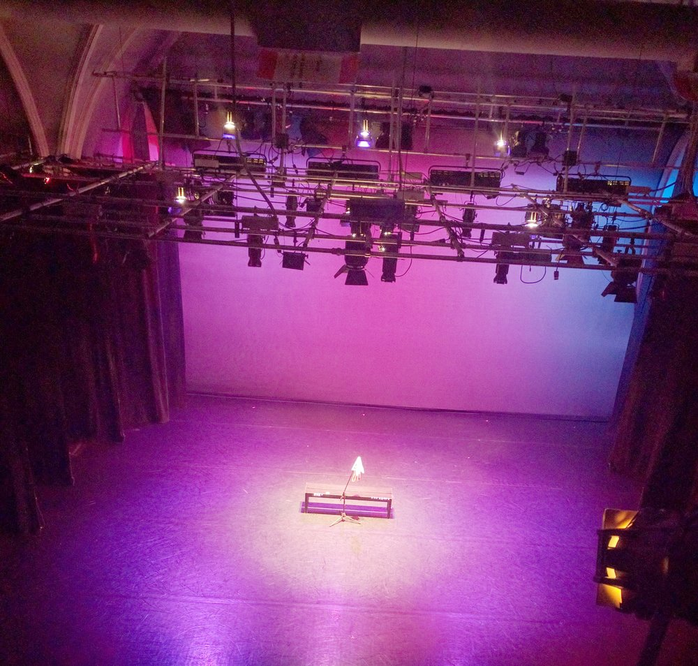 View from booth with stage lighting