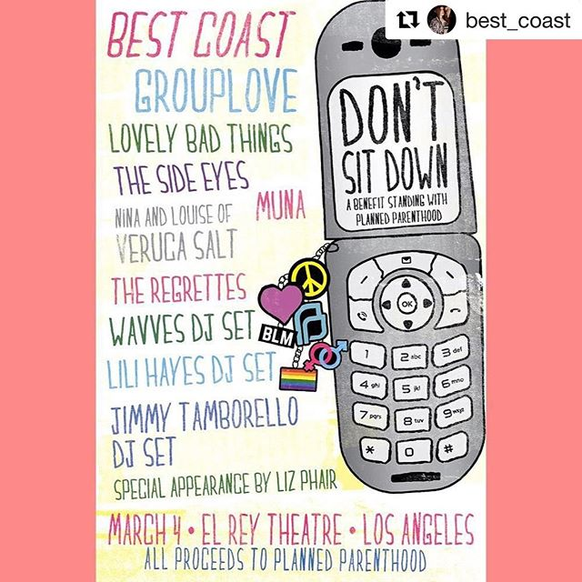 Check this out!  #Repost @best_coast with @repostapp ・・・ Tickets to our benefit for @plannedparenthood are on sale NOW! Link in bio! Go get tickets to support this amazing cause NOWWWWWWW and see all these amazing bands/DJs next Saturday at @elreytheatre *JUST ADDED @theregrettesband TO LINE UP!* 🌈💕🙌🏻