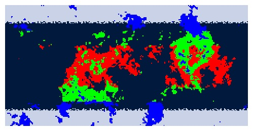 Segmentation of climates in hot (red), warm (green) and cold (blue).