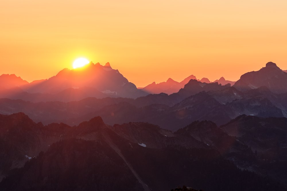 Sunset from Glacier Peak base camp.