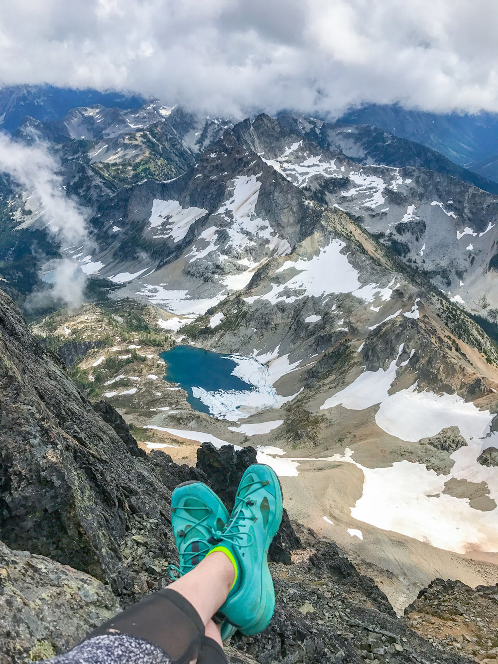 Taking in the views from the summit of Black Peak.