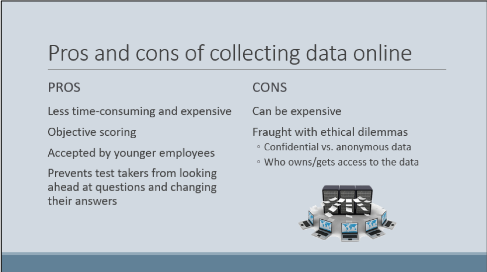 Figure 1: Before of lecture slide discussing pros and cons of collecting online data