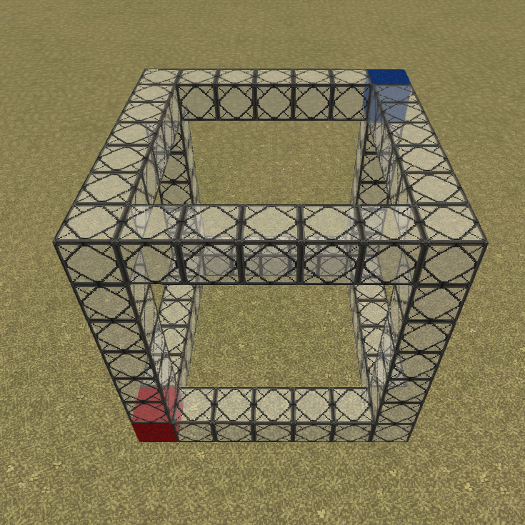 "Visual representation of a cuboid selection, with the red wool as ""position one"" and the blue wool as ""position two""."