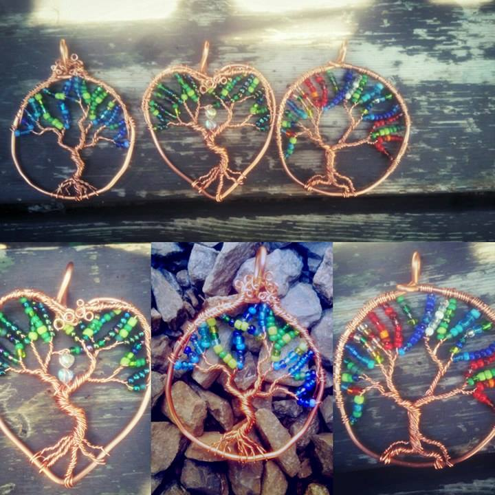 These beautiful necklaces are just a small sampling of what wonderful local jewelry artist Shayla Dawn of  Red Dawn Creations  on Facebook has done with the some of the copper wire recycled by our yard.