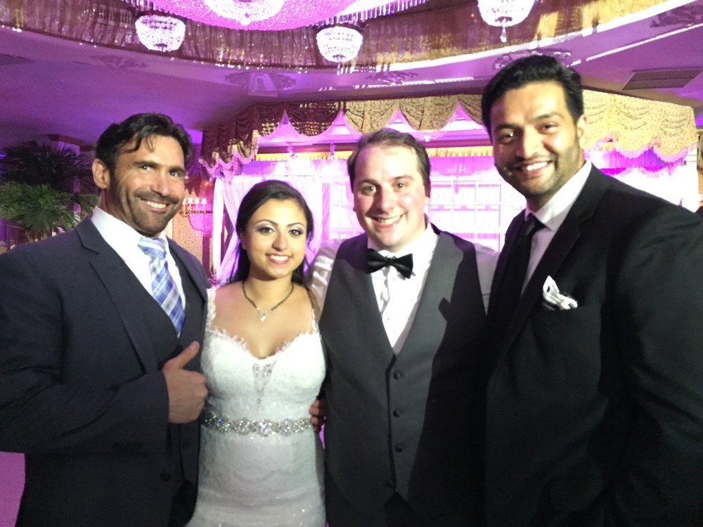 MC Jamie and Dj Amrit with the beautiful Couple of the evening! at  Leonards Plazzo of Great NEck, NY.