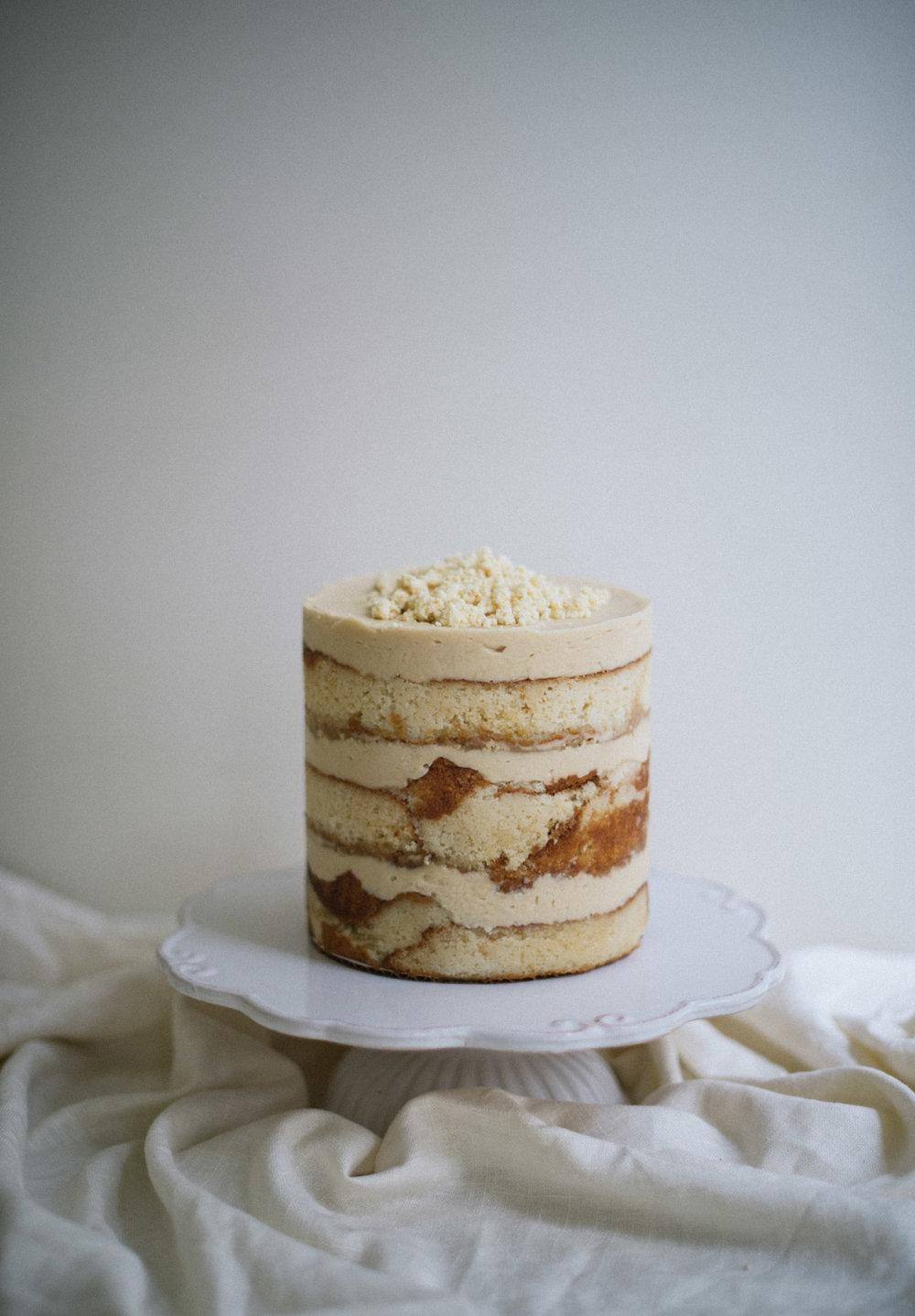Caramel Layer Cake // caramel cake, caramel buttercream, caramel sauce, and white chocolate milk crumb