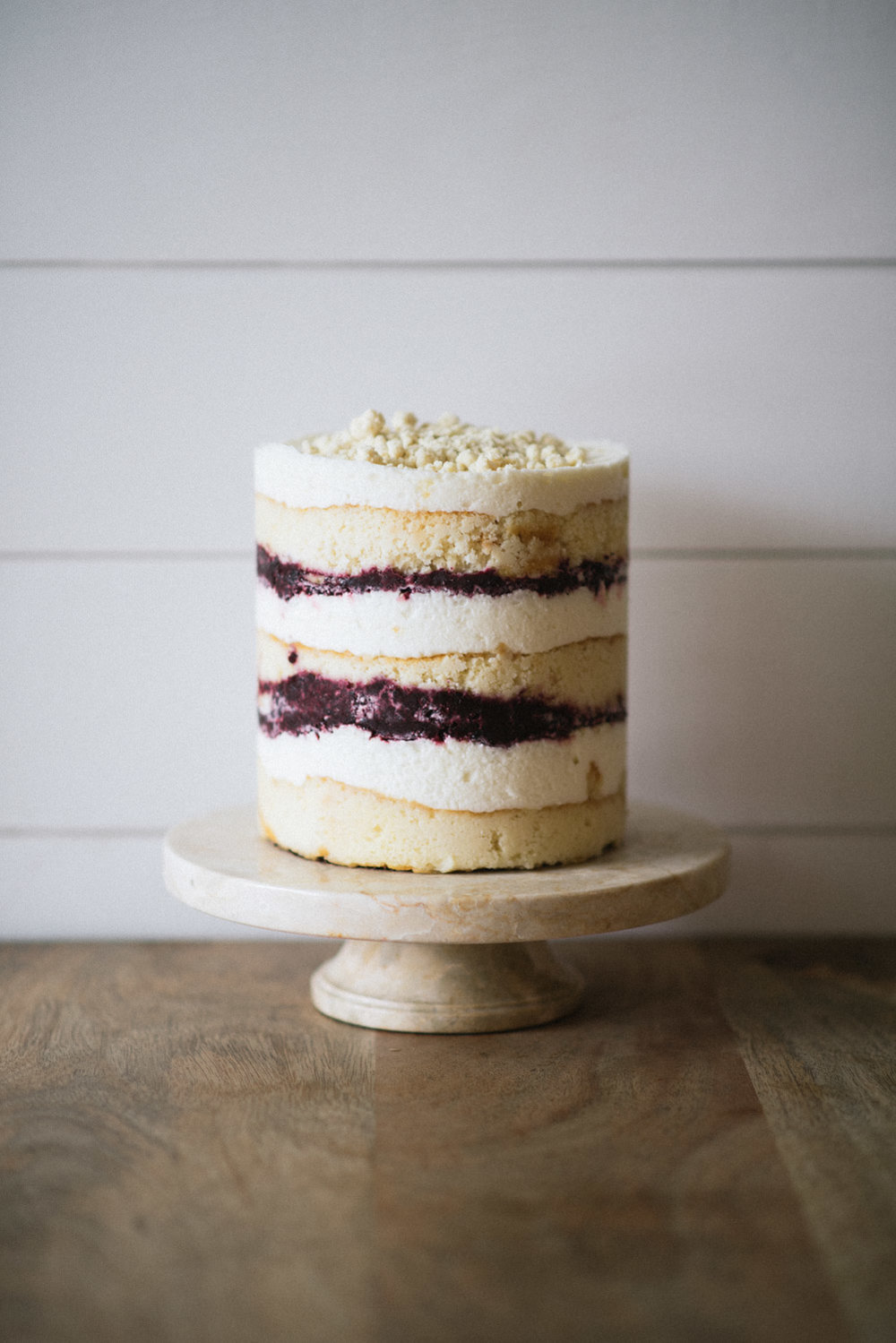 Blackberry Champagne Layer Cake // Champagne Cake, Champagne Buttercream, Blackberry Preserves, White Chocolate Milk Crumb, Gold Sprinkles