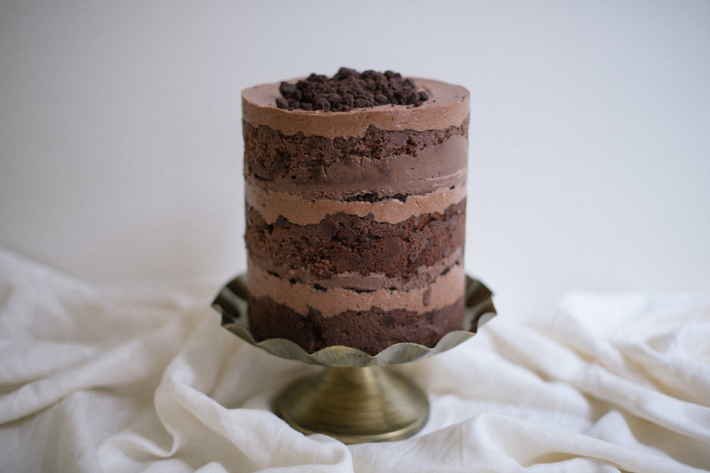 Classic Chocolate Layer Cake // Chocolate Cake, Chocolate Buttercream, Chocolate Custard, Chocolate Crumb - also available in Gluten Free
