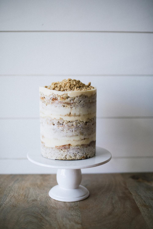 Banana Layer Cake // banana cake, banana custard, honey buttercream, graham cracker crumb