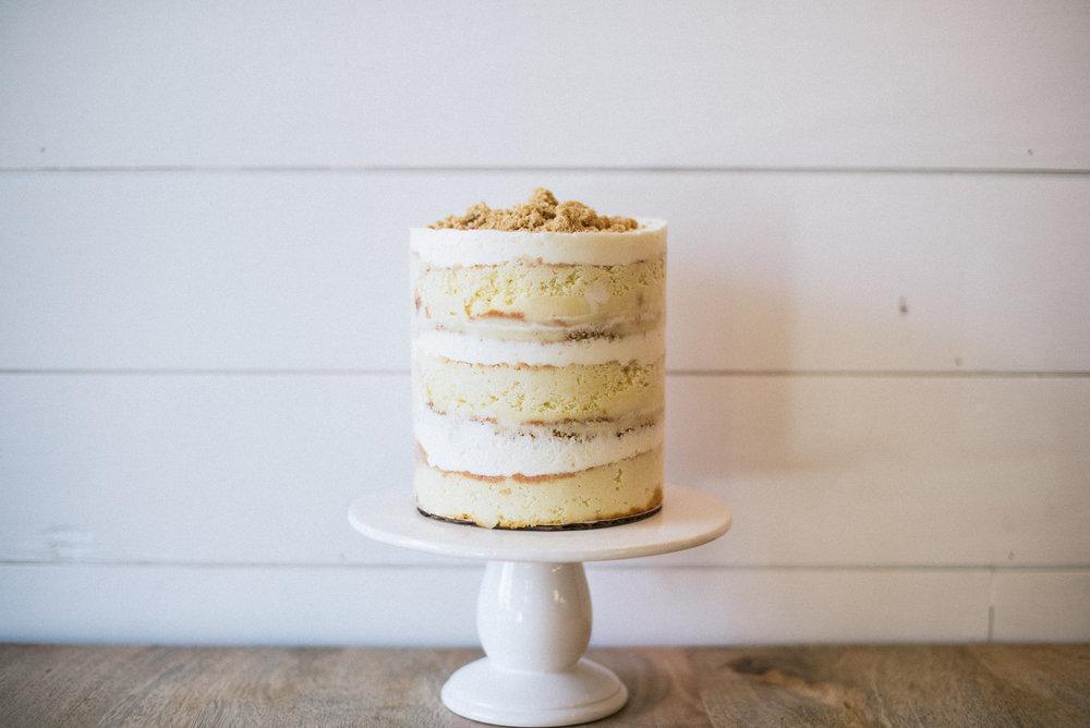 Lemon Cream Pie Layer Cake // lemon cake, lemon buttercream, vanilla custard, graham cracker crumb