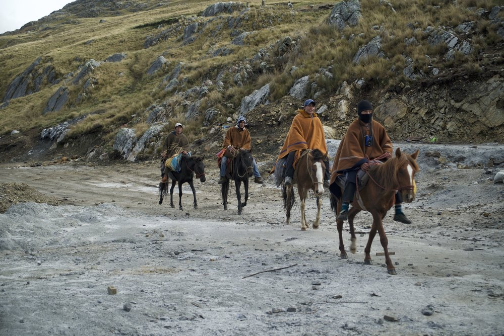 In the remote mountains of Peru, this men ride 4 hours each way every time they go to work in Abraham's gold mine.