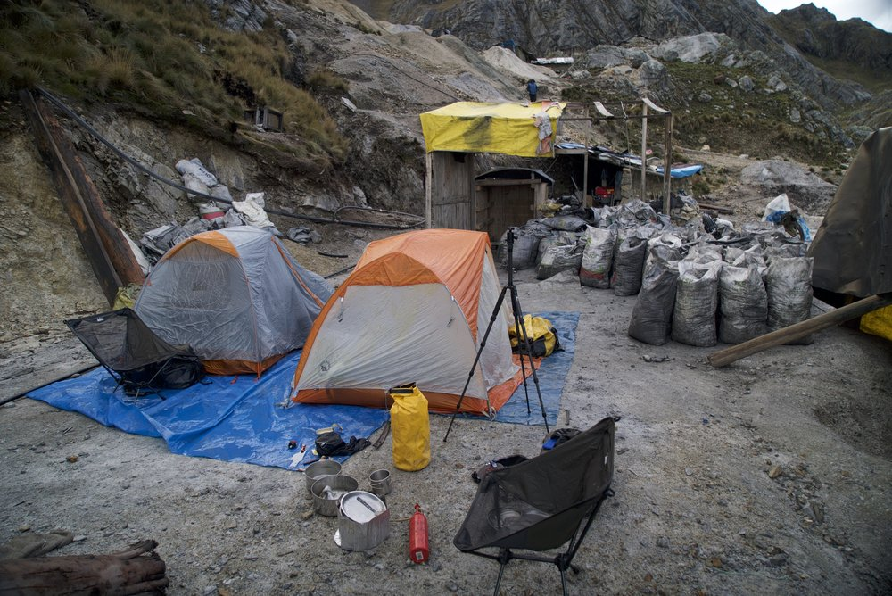 Emergency night camping in a mine in Peru, we didn't get to see where we really where until the next morning.