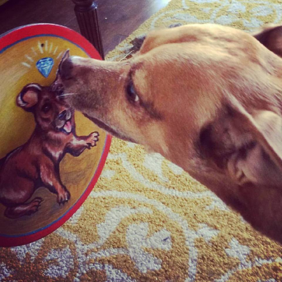 Red Dog and her mini likeness