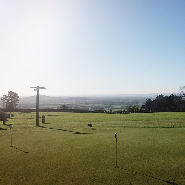 Our course enjoys views in many directions. Here looking south across Somerset from our practice putting green towards Brent Knoll.