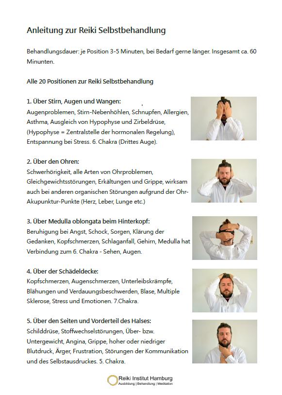 Reiki Selbstbehandlung Anleitung Seite 1. (mehr auf www.reiki-ausbildung-hamburg.de)