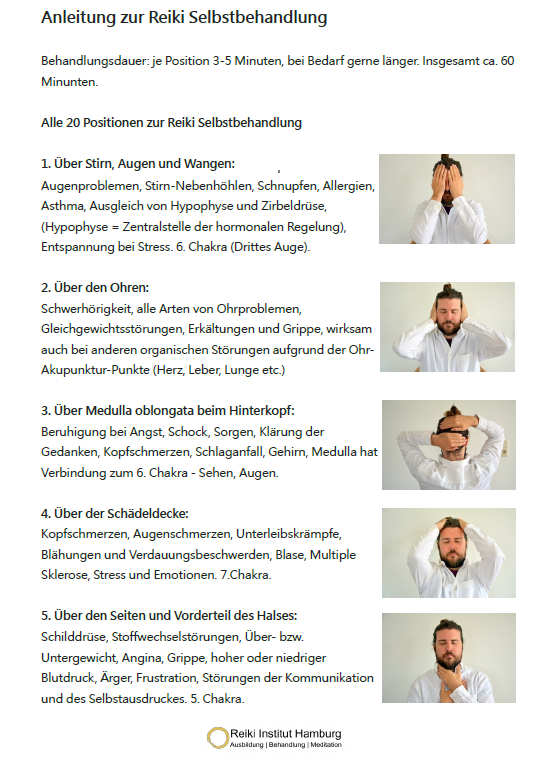 Mein Geschenk für dich: Reiki Anleitung als PDF  hier  zum GRATIS DOWNLOAD - alle 20 Positionen und ihre Wirkung