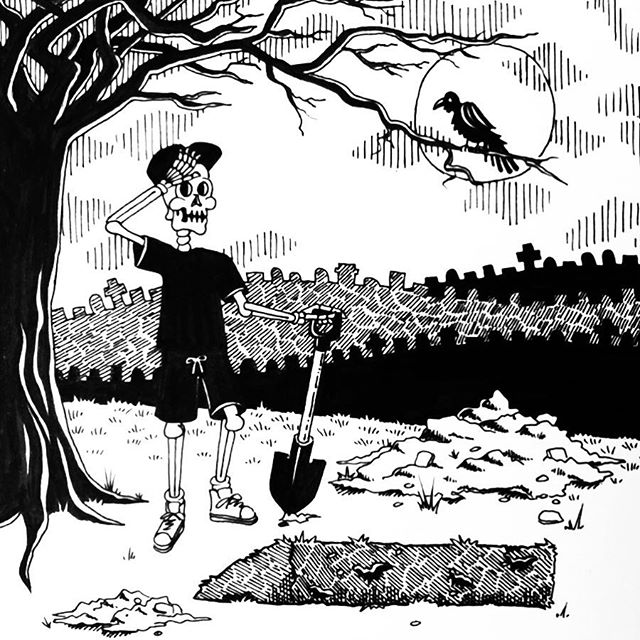 😞 EXHAUSTED 😞 Day 7 of #Inktober. Digging your own grave isn't nearly as tiring as living is. ☠️ Swipe thru to see the process pics. ✏️ • • • #inktober2018 #skeleton #skull #graveyard #grave #penandink #ink #inkdrawing #hatching #brushpen