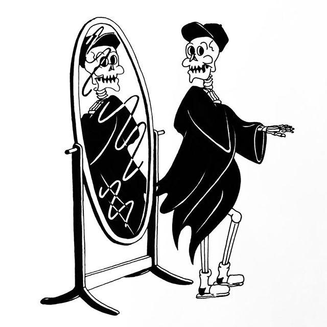 💃🏻 FLOWING 💃🏻 Prompt 10 from #Inktober AKA #Inkvember. S. Kelly Tonne bought himself a new cloak. ☠️ Swipe through to see the process. ✏️ • • • #skeleton #skull #comics #cartoon #ink #inkdrawing #penandink #inktober2018 #spooky
