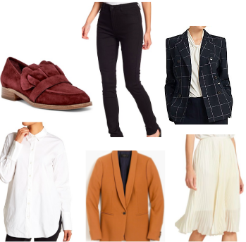 White Button Down by Theory  |   Pleated Skirt by Donna Karan  |  Plaid Blazer by Donna Karan |   Black Skinnies by Kendall & Kyle |   Marroon Flat by Pour La Victoire