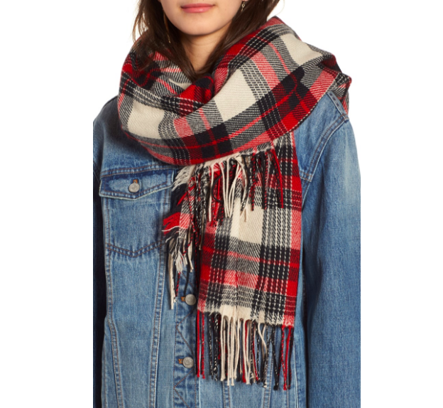 Because… hello! A cozy, oversized scarf is a necessity for a fall wardrobe. This one is from  Madewell .